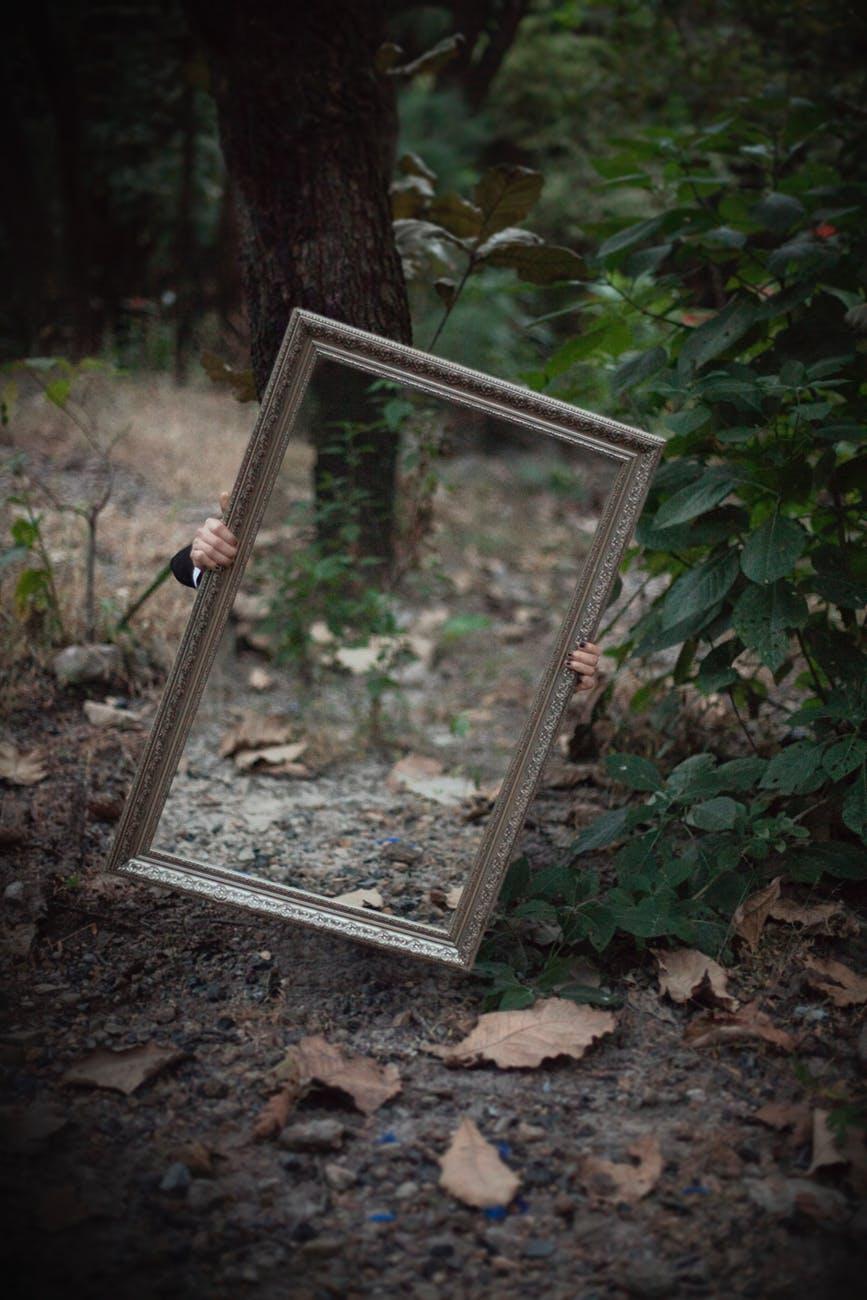 rectangular wooden frame mirror