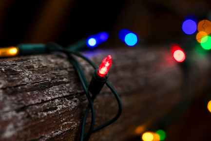 tilt shift lens photography of string lights